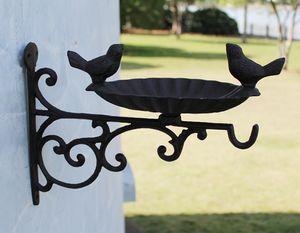 Decorative Cast Iron Bird Feeder Antique Rustic Brown Birdfeeder Bird Bath Water Wall Mounted Metal Rack Hook Garden Decor Hook Vintage