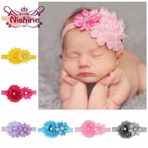 Nishine Bambino fascia Newborn Shabby fascia del fiore delle neonate Chiffon Fiori Hairbands bambini Headwear Accessori per capelli carino da regalo