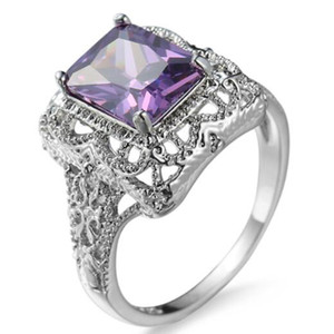 10 Pieces muito LuckyShine Praça Fogo Ametista Gems 925 prata banhado Cristal Cubic Zirconia Mulheres Homens Anéis Vintage Jóias