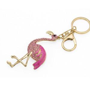 Free DHL Hot Sale Unique Charm Keychain Cute Keychain Flamingo Keyring Keyfob for Fashion ladies Gift Crystal Key Chain 2 Styles D317Q A