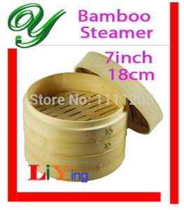 Wholesale-Bamboo Steamer Basket Set free for Lid 7inch 18cm beige Rice Cooker Pasta fish Healthy cooking tools breakfast dishes containers