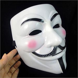 Máscara 50pcs V para Vendetta Máscara amarela com máscara Eyeliner Narina Anonymous Guy Fawkes Fantasia Adulto traje de Halloween