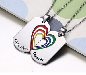 Brand New Romantic Couple Par Couple Lover's Gifts Colorful Dog Tag Colgante Necklace Silver Acero inoxidable juntos Heart forever