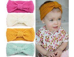 Baby Bohemia Turbante Headbands Malha Moda Protect Ear Bow Headwear Menina Acessórios Para o Cabelo Fotografia Adereços