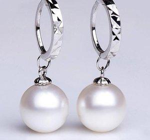 Großhandelsheiße Frau 9-10mm weiße natürliche Perlenohrringe perfekter Kreis 925 Silber YE18