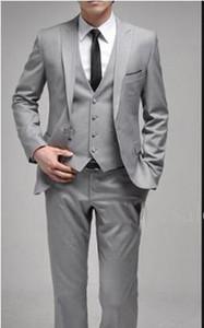Latest design Custom Made Wedding Suits Groom Tuxedos Light Grey Suit Formal Suits Best Man Groomsman suits (Jacket+Pants+Vest)
