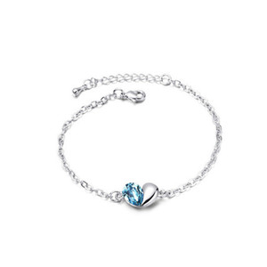 Romantic Crystal Charm Bracelets Fashion High Qualtiy Women Bracelets Heart Shape Silver Jewelry Free Shipping 8064