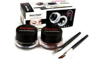 Музыка цветок черный + коричневый двухцветный гель подводка для глаз Smudge доказательство воды глаз лайнер подводка для глаз подводка для глаз Гель макияж косметические + кисти бесплатно