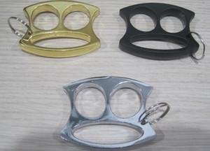 Hot New Gold Black et Silver Key Mignon Porte-clés Petite Face Deux doigts Knuckles