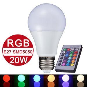 NOUVEAU E27 RGB LED lampe 10W 15W 20W LED RGB ampoule lampe 110V 220 V Télécommande 16 changement de couleur Lampada LED Lumière Luz mondiale A65 A70 A80