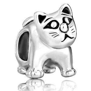 Yüksek kaliteli kedi sevimli hayvan Büyük boncuk ile Avrupa boncuk metal charm kızlar bilezikler Pandora Chamilia Uyumlu