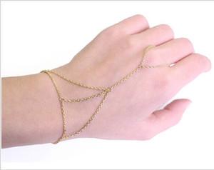 Takı Vücut zincir Bilezik Bileklik Kadınlar Altın / Gümüş Ton Bilezik Bileklik Slave Zincir Bağlantı İnterweave Parmak Yüzük El Demeti Ücretsiz DHL