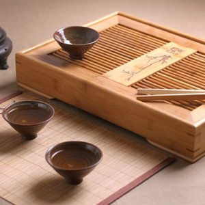 A3888 bambú bandeja de té, juego de té Kung Fu, bandeja de bambú, que contiene agua de tipo de almacenamiento, Oficina Teaboard de madera maciza, tabla de té tamaño tres