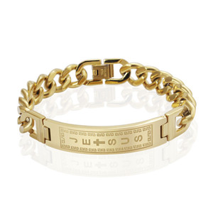 18k ouro preenchido pulseiras pulseiras homens jóias jesus cruz pulseiras de aço inoxidável