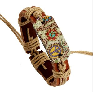 il braccialetto di cuoio 12pcs / lot intreccia la corda di cuoio che intreccia il braccialetto di stile cinese traversa i braccialetti religiosi per le donne degli uomini trasporto libero