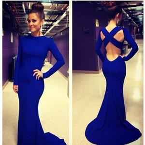 Increíble barato $ 25.9 vestidos de baile con la tripulación de mangas largas correas cruzadas espalda larga Sexy azul real en la noche vestidos de fiesta de la ocasión LF015