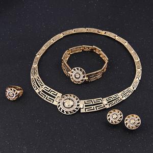 18k plaqué or mariage perles africaines ensemble de bijoux cristal Vintage boucles d'oreilles Bracelet collier anneau mode Lionhead 5sets / lot