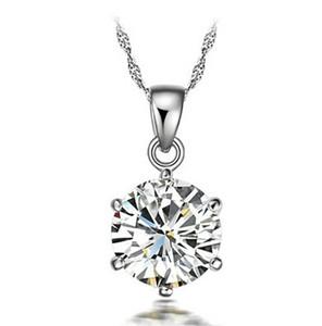 الجملة الجميلة مجوهرات فضة مجوهرات مضمون 100٪ الصلبة 925 فضة قلادة مع واحدة زركون 40073