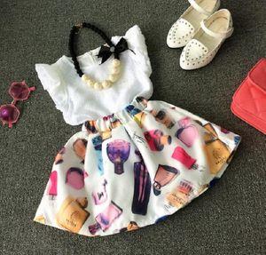 Summer Wear Girls Set Kids 2pcs Set Ruffles White Chiffon Blouse Tops + Perfume Printed Skirt Child Clothing Suit Children Outfits 11263