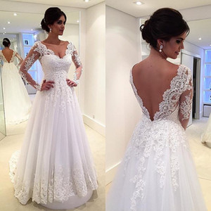 Vestido de novia con apliques Boutique blusa de manga larga de encaje sin espalda una línea vestido de boda del cuello en V Vestido de Noiva