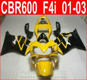 Bodykits negro amarillo Diseño para Honda CBR600 F4i kit de carenado 2001 2002 2003 CBR F4i cbr600f4i carenados DRYB