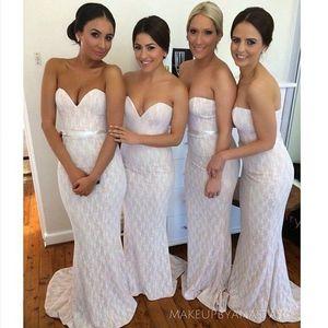 Renda marfim longo vestidos de dama de honra da praia do verão 2016 sereia querida lace com faixa formal vestidos de festa longo prom vestidos