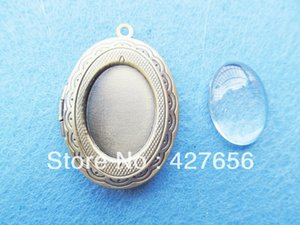 500 pcs Grande bom Polimento Antigo bronze Oval / Elipse Caved Picture Frame Caso / Caixa de vidro claro Cabochon Pingente charme / Finding