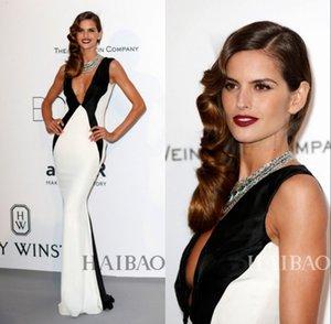 Celebrity Red Carpet La 68esima di Cannes abiti sexy scollo a V bianco e nero Raso Abiti da sera convenzionale
