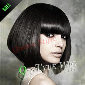 2015 Yeni Varış Asya Kısa siyah bob saç peruk, Doğu Güzellik peruk Sentetik kısa Amerikan Afrika peruk beyaz veya siyah kadınlar için