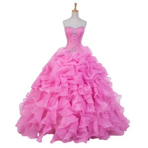 New Design Pink Quinceanera Dresses Sweetheart Crystals Ruffles Organza Floor Length Ball Gown 2019 Prom Gowns Lace up Back Custom Made Q7