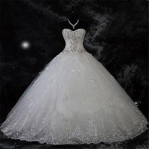 Robe de mariage pizzo strass Plus Size dell'abito di sfera Abiti da sposa 2020 abiti di cerimonia nuziale Vestido De Novia