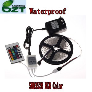 All'ingrosso-RGB LED Strip 5M 300Led 3528 SMD Impermeabile 24Key Telecomando IR 12V 2A Adattatore di alimentazione Luce flessibile Led Lampade a nastro