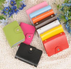 Os titulares do cartão 24 cartões Pu suportes de cartão de crédito ID couro Porte caso de crédito carte