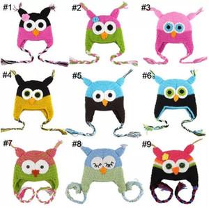 50pc Toddler Owl Ear Flap Sombrero de ganchillo Niños Hecho a mano Crochet OWL Beanie Hat Hecho a mano OWL Beanie Kids Sombrero tejido a mano