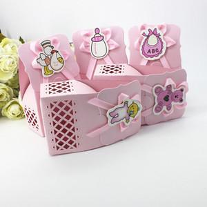 كيس الحلوى مربع الشوكولاته ورقة هدية حزمة لحضور حفل زفاف عيد ميلاد لوازم ديكور ديي استحمام الطفل الوردي / الأزرق زجاجة التمريض الخ
