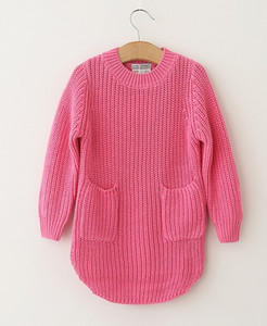 Cotton Knit Solid Long Sleeve Asymmetric Lower Hem Pocket Kid Girls Sweater Fashion Soft Grace N1688