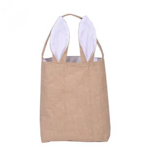 Fashion Bunny Ears Basket Bag Pieghevole in cotone e linea assortiti Shopping Borse Pasqua Festival regalo 10pcs / lot SK817