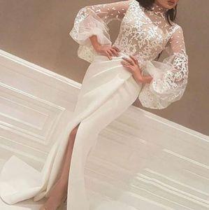 Вечерние платья Очаровательный Арабский Высокий воротник Иллюзия Кружева Кружева Аппликации Белые Русалки Длинные Рукава Формальные Платье Платье Prom Promed Prom