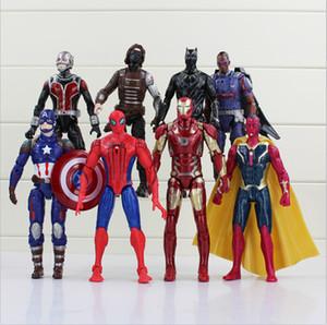 8pcs / set Avengers Super heróis Capitão América Homem de Ferro Spider Man Visão Ant Man Ação PVC Figura Collectible Toy