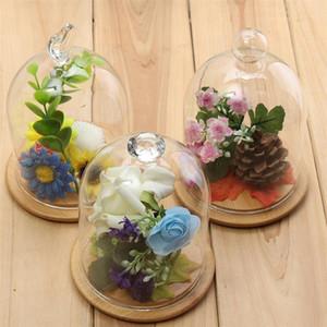 Eco-friendly transparente Sino Vaso exibição Terrário abóbada da flor Immortal Preservação Base de madeira da casa Jardim Artesanato Decoração