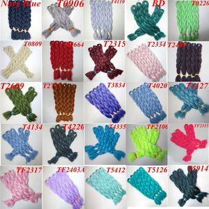 Vente en gros Synthetic Jumbo tressage de cheveux en vrac 24inch 80g de couleur unique Synthetic Crochet Braids Extensions de cheveux