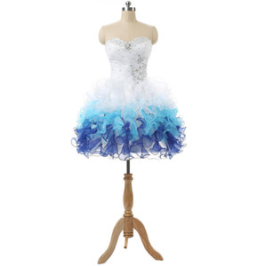 White Blue Mini Homecoming Prom Dresses Cheap Sweetheart Beaded Sequin Ruffles Short Club Party Dress Gowns In Stock Teens Graduation Dress