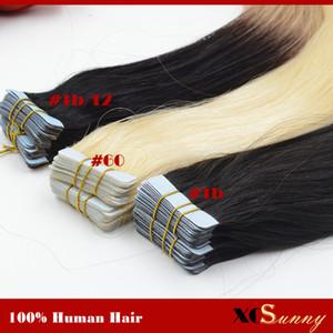 XCSUNNY 18 inç 20 Inç Perulu Vrigin İnsan Saç Uzatma Bant 100 g / pk Remy Saç Uzantıları Bant 100% İnsan Saç