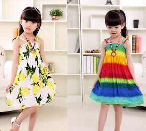 Boemia con collana Stripe Lemon Cotton Backless ABITO Girls Floral Beach Dress Carino Baby Summer Halter Halter Dress Bambini Vintage Flower