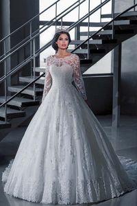 Barato Vestido De Novia Vintage vestido de bola blanco vestidos de novia con mangas Robe De Mariage Princesse vestidos de novia vestido de novia de manga larga
