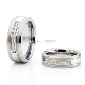 Wholesale-Top selling tungsten carbide ring with 7 cz inlay fashion men ring