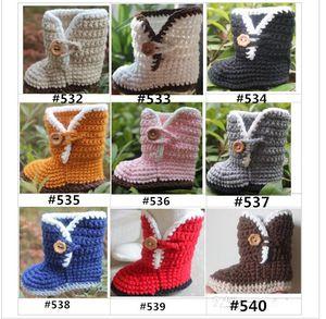 HOT sale! -Crochet baby booties first walker shoes Handmade wooden button cotton 0-12M size