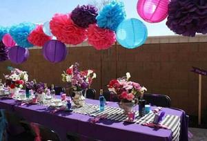 10 cm 15 cm 20 cm 25 cm flores de papel de seda colorido flores de papel artesanal para el banquete de boda de navidad decoración de cumpleaños PF01