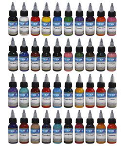 40pcs / 설정 혼합 색 문신 페인트 30ml (1 온스) 잉크 문신 영구 메이크업 수동 안료 병