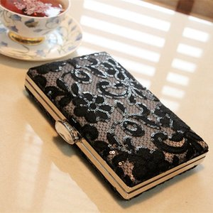 Fashion New Arrival 2015 Black Lace Sequins Clutch Evening Bags Handbags High Quality Evening Ladies Purses For Party EN8213